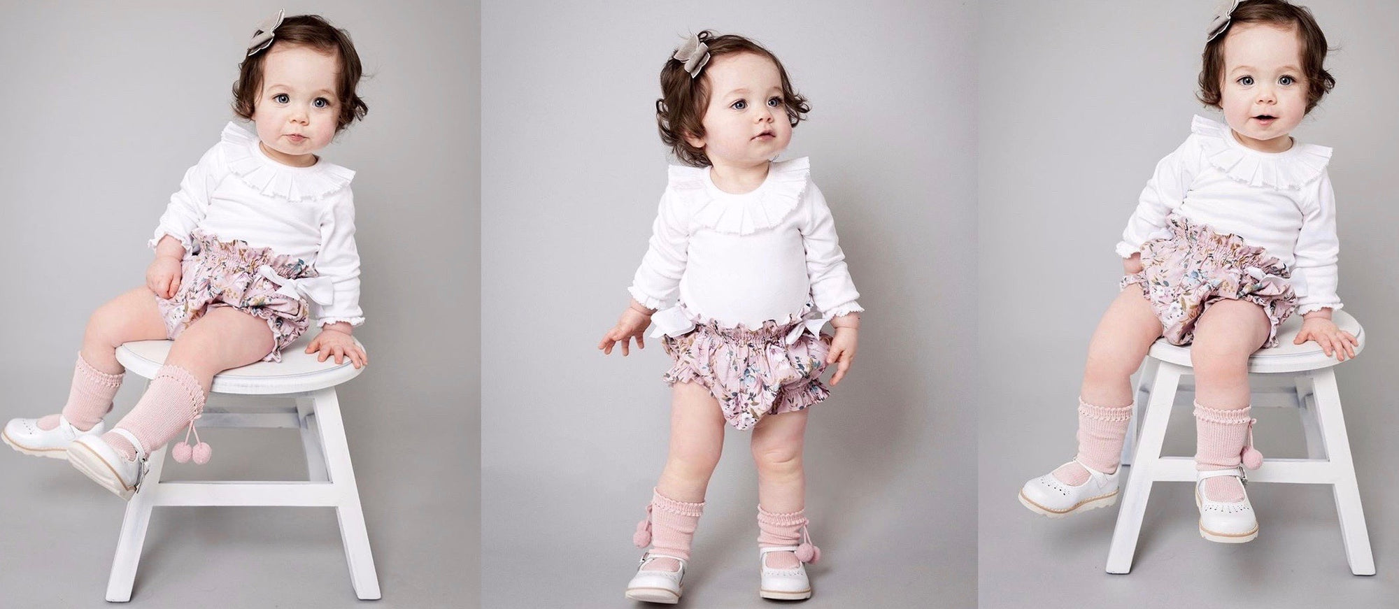 3 images of a toddler girl wearing white pleated collar top and pink flower bloomers