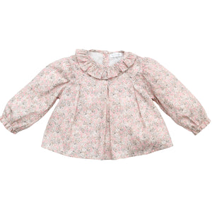 wedoble pink floral baby girl blouse, made in portugal