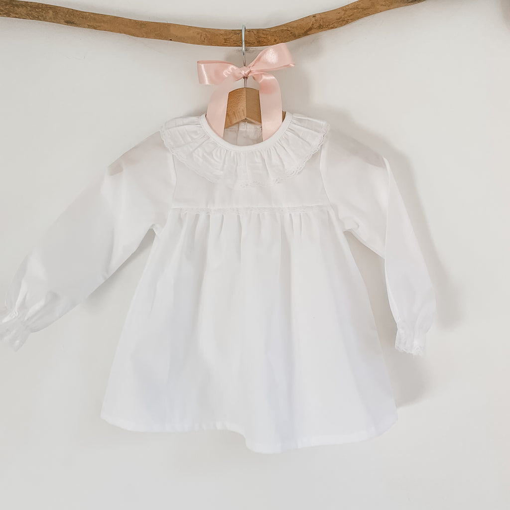 white frill collar baby blouse, made in portugal