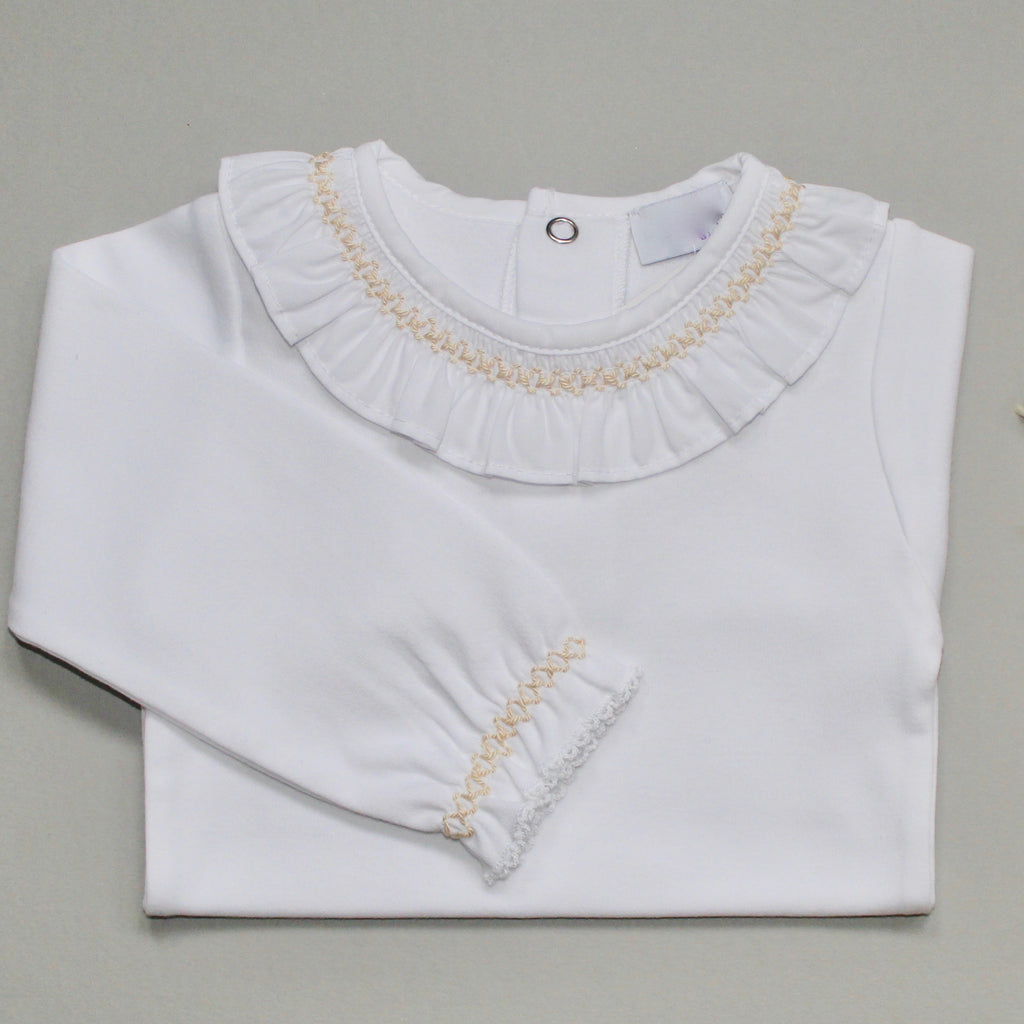 white frill collar bodysuit with beige x stitching detail to collar and cuffs.  made in Portugal by laivicar