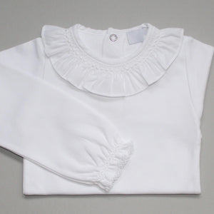 white frill collar X stitch body suit. made in Portugal by laivicar