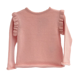 wedoble baby knit sweater in rose pink, made in portugal