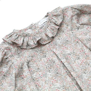 Wedoble grey floral frill collar baby blouse, made in portugal