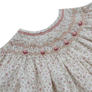 spanish smocked baby dress with hand embroidered roses