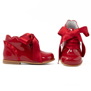 spanish girls boots, red patent leather