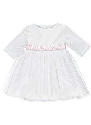 ront of 3/4 sleeve white special occasion dress with tulle skirt layers and pink sash