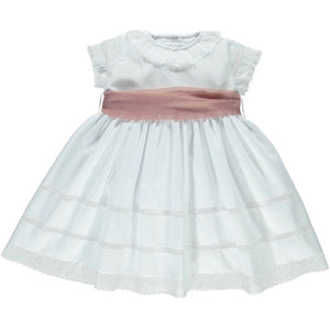 front of white ceremony dress with short sleeves and pink waistband