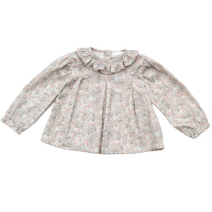 Wedoble grey floral baby blouse, made in portugal