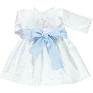 back of white cropped sleeve cotton dress with blue spots and baby blue waistband