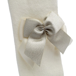 spanish baby tights with double bow in ivory