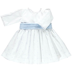 front of white cropped sleeve cotton dress with blue spots and baby blue waistband