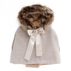 girls winter cape with faux fur hood, oatmeal colour