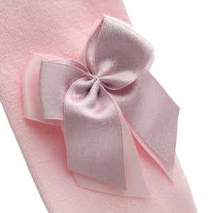 close up spanish baby tights with double bow pink