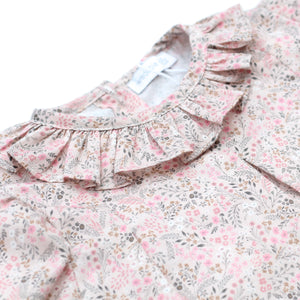 close up of wedoble pink floral baby girl blouse