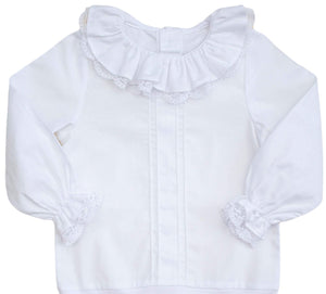 lace collar baby bodysuit blouse white