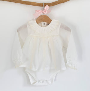 portuguese bodysuit blouse in ivory, traditional baby blouse