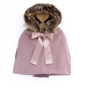 girls winter cape with faux fur hood, made in portugal