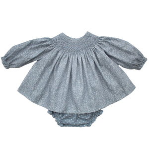 spanish hand smocked baby dress in blue floral fabric