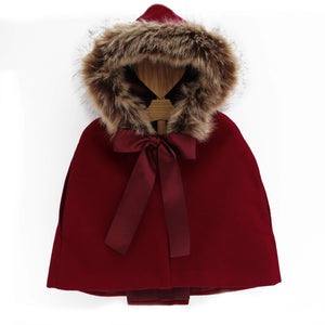 girls cape burgundy with fur hood, made in portugal
