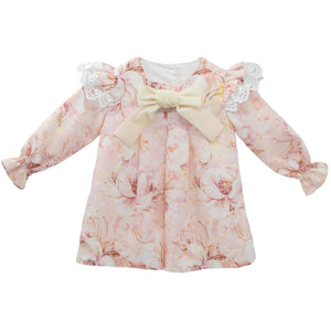 Baby girl dress in pink floral with lace shoulders, made in portugal