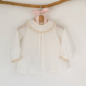 ivory plumeti traditional baby blouse, made in portugal