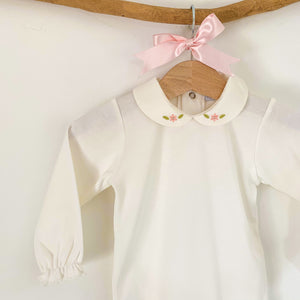 ivory baby bodysuit with embroidered peter pan collar, made in portugal