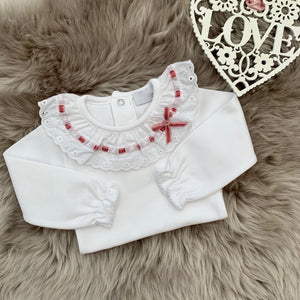 white bodysuit with broderie anglaise frill collar and dusky pink threaded velvet ribbon. made in Portugal by laivicar