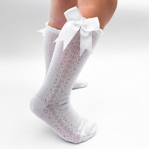 Spanish openwork knee socks with satin ribbon bow, made in Spain