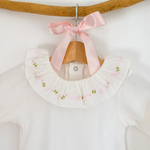 portuguese classic baby frill collar bodysuit in ivory