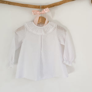 white plumeti classic frill collar baby blouse, made in portugal