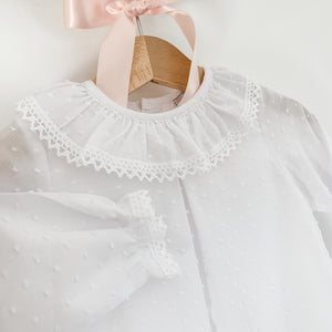 white plumeti frill collar baby blouse, made in portugal
