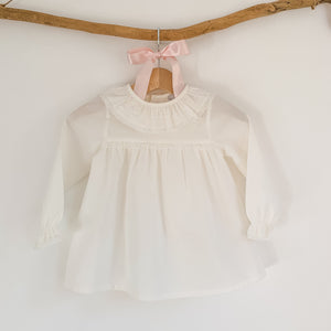 ivory frill collar classic baby blouse, made in portugal