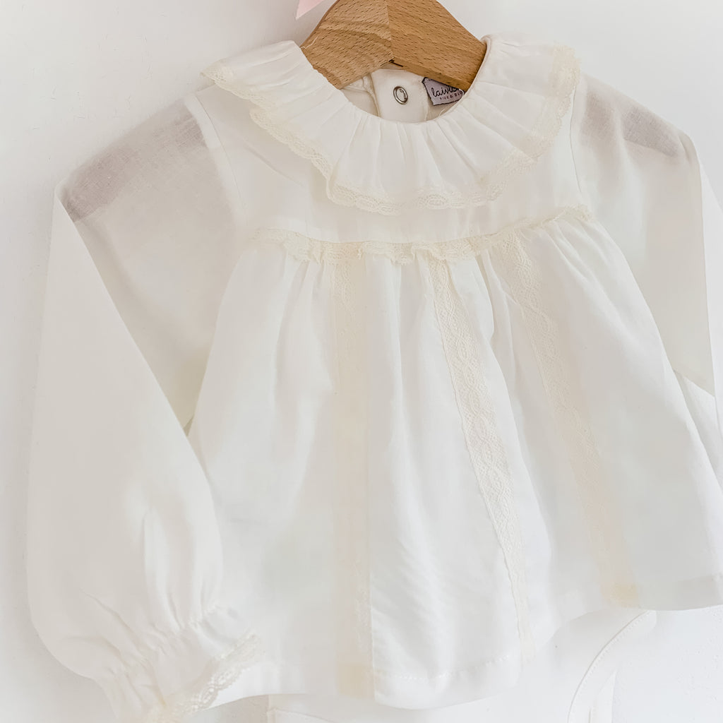 portuguese baby bodysuit blouse with frill collar