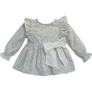 floral organic cotton baby girl blouse with ivory bow, made in portugal