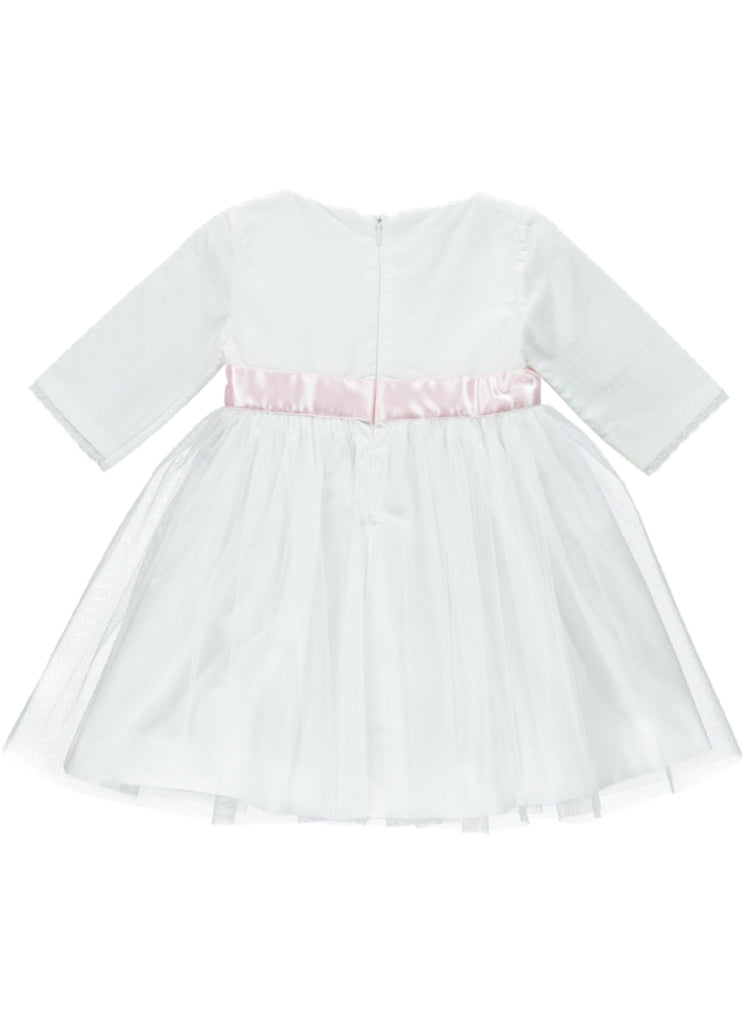 back of 3/4 sleeve white special occasion dress with tulle skirt layers and pink sash
