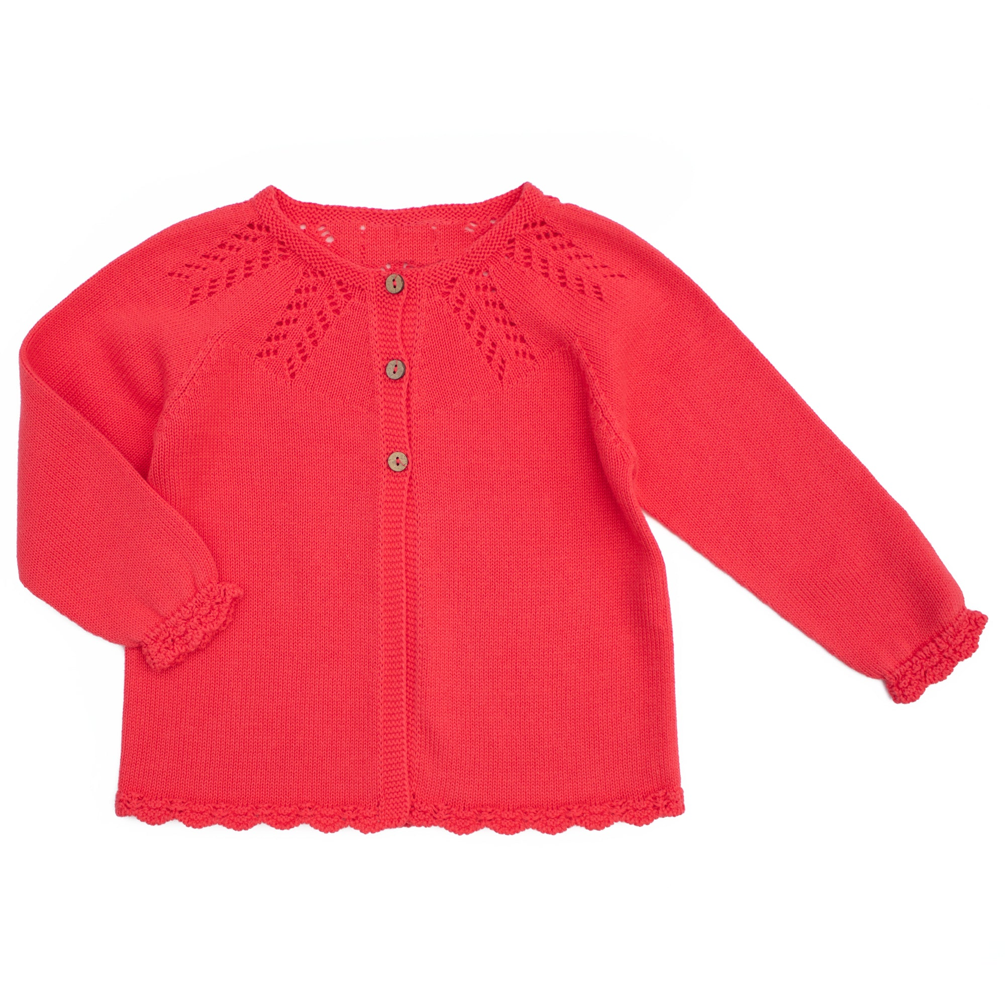 coral coloured cotton baby cardigan, made in portugal