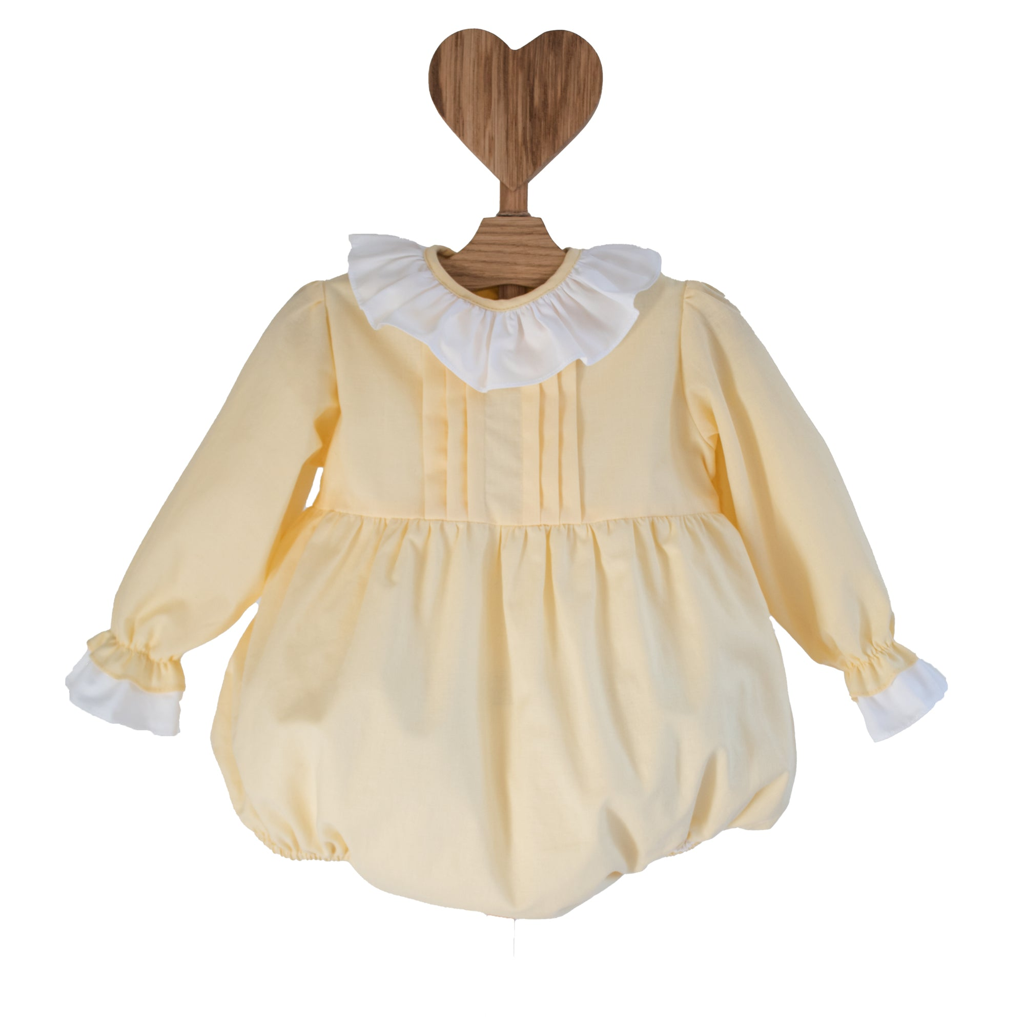 pale yellow traditional baby romper with white collar and bow, made in portugal