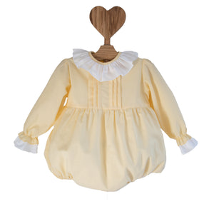lemon yellow baby romper with frill collar, made in portugal