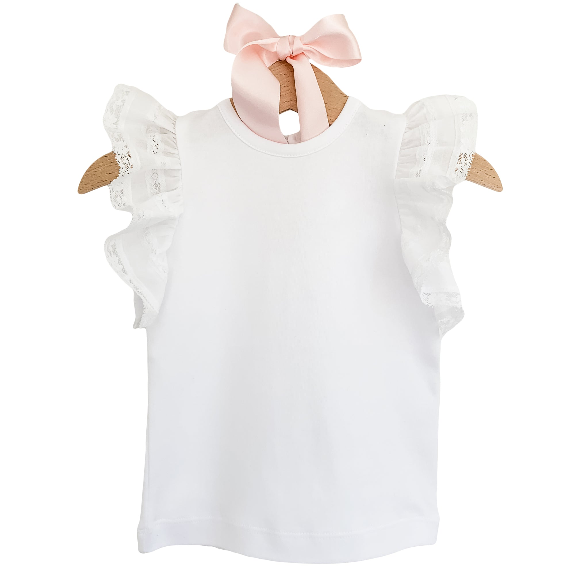 white frill sleeve girls top