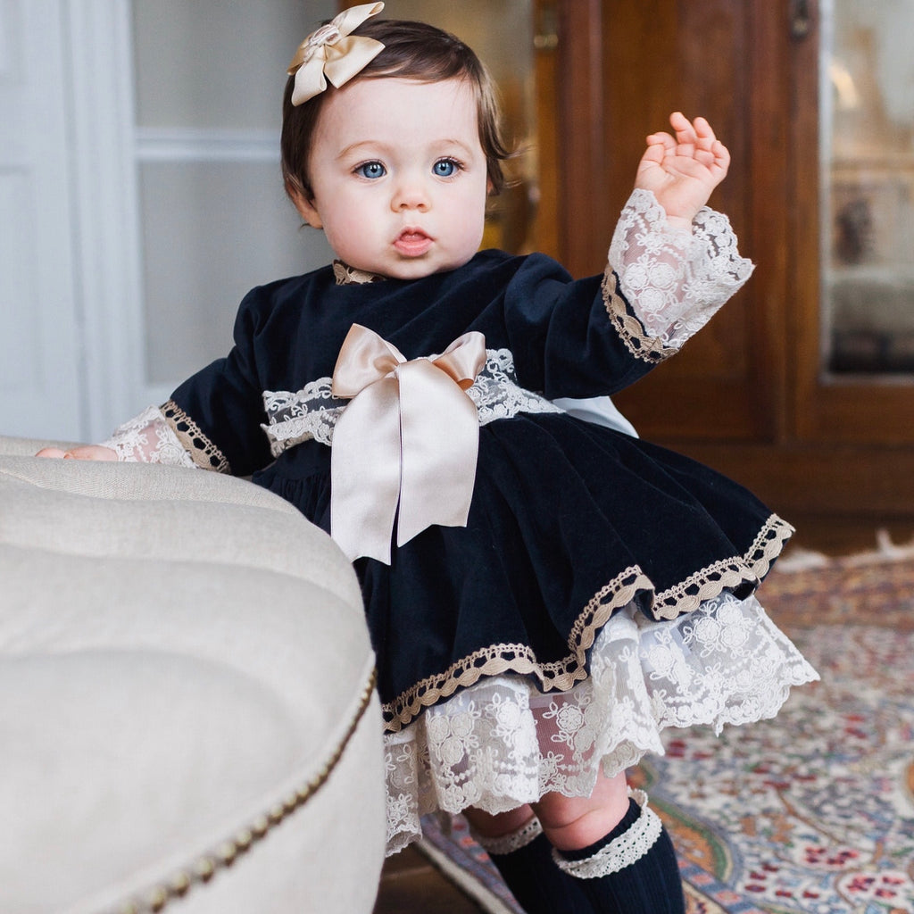 hand made Spanish dress navy velvet by Sonata