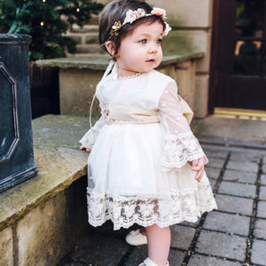 baby girl wearing cream lace dress hand made in Spain by sonata