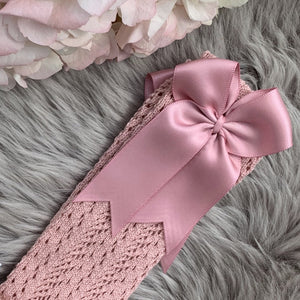 Spanish openwork knee socks in antique rose with satin ribbon bow, made in Spain