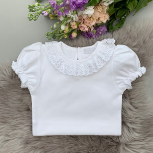 white broderie anglaise frill collar bodysuit with short sleeves. made in portugal