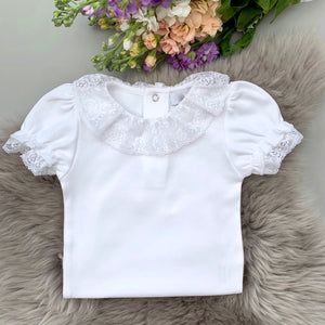 lace collar bodysuit in white with short sleeves. made in portugal