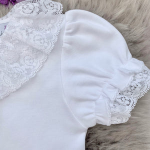 close up of lace collar bodysuit in white with short sleeves. made in portugal