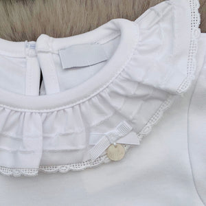 close up of large white frill collar on bodysuit, made in portugal