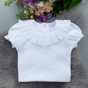 white pleated frill collar short sleeve bodysuit, made in portugal