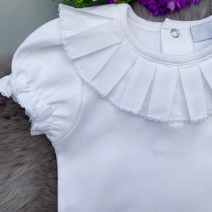 close up of pleated frill collar short sleeved bodysuit, made in portugal