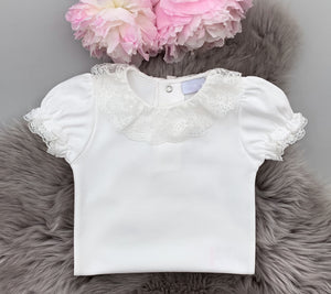 portuguese baby bodysuit with a lace frill collar in ivory colour