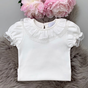 portuguese baby bodysuit with a lace edge frill collar in ivory colour
